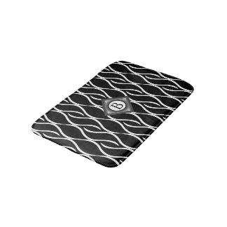 Black and White Curvy Pattern with Custom Monogram Bath Mat