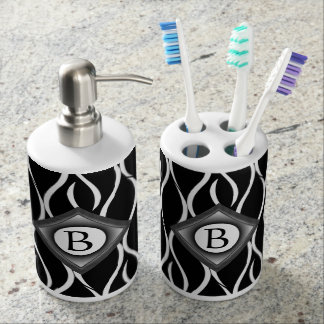 Black and White Curvy Pattern with Custom Monogram Soap Dispenser And Toothbrush Holder