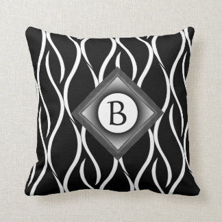Black and White Curvy Pattern with Custom Monogram Throw Pillow