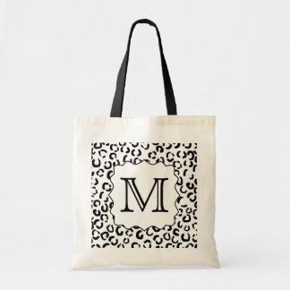 Black and White Custom Monogram Leopard Print.