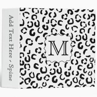 Black and White Custom Monogram Leopard Print. Binders