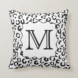 Black and White Custom Monogram Leopard Print. Throw Pillows
