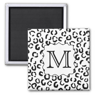 Black and White Custom Monogram Leopard Print. Square Magnet
