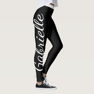 Black and White Custom Name Leggings