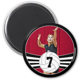 Black and White Custom Photo Volleyball Magnet