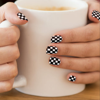 black and white customizable checkered pattern minx nail art