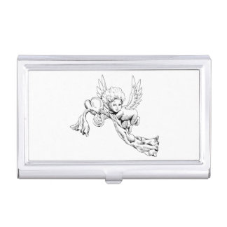 Black and white Cute Angel with heart Business Card Case