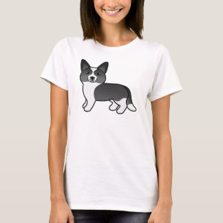 Black And White Cute Cartoon Cardigan Welsh Corgi T-Shirt