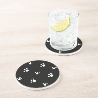 Black And White Cute Puppy Dog Paw Print Pattern Coaster