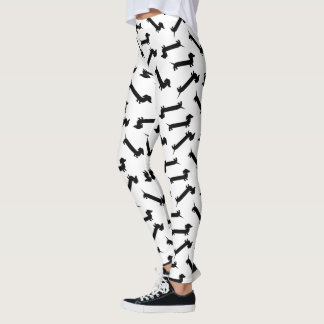 Black and White Dachshund Pattern Leggings