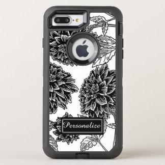 Black and White Dahlia OtterBox Defender iPhone 8 Plus/7 Plus Case