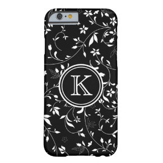 Black and White Dainty Flowers with Monogram Barely There iPhone 6 Case