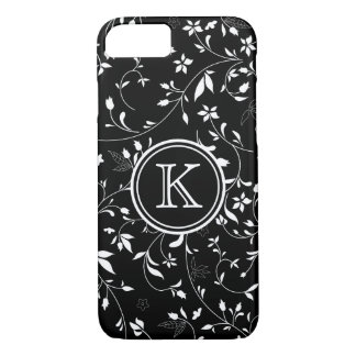 Black and White Dainty Flowers with Monogram iPhone 7 Case
