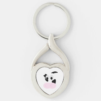 Black and White Dairy Cow or Bovine's face Silver-Colored Twisted Heart Keychain