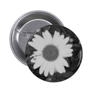 Black and White Daisy Pinback Button