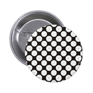 Black And White Daisy Web Pattern 2 Inch Round Button