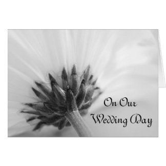 Black and White Daisy Wedding Day Card