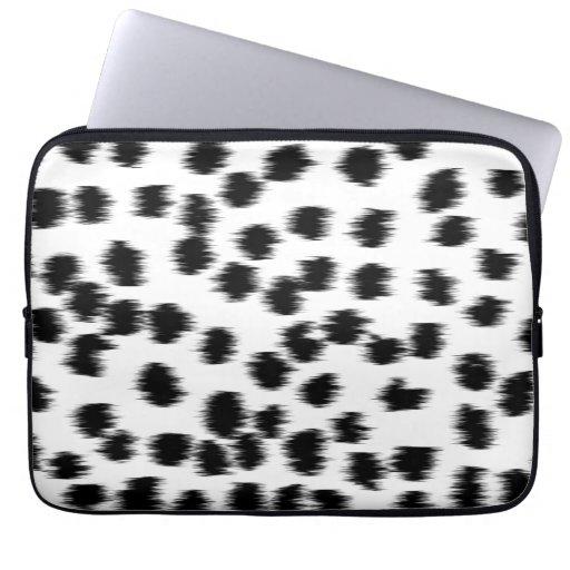 Black and White Dalmatian Print Pattern. Laptop Computer Sleeve