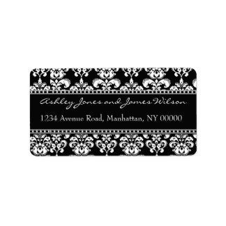Black and White Damask Address Labels