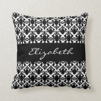 Black and White Damask Beauty Customize Throw Pillow