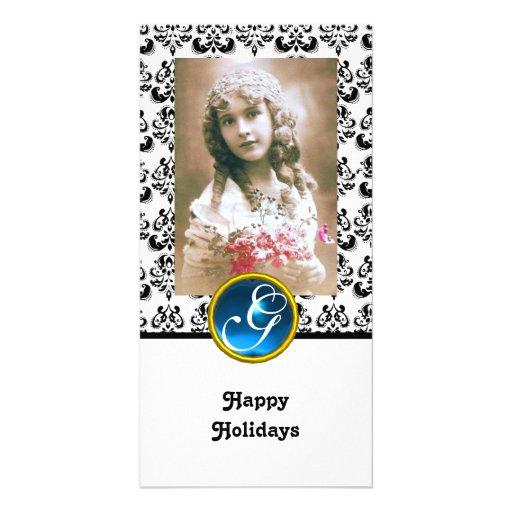 BLACK AND WHITE DAMASK Blue Sapphire Monogram Photo Card