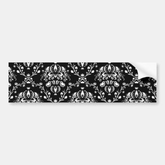 Black and White Damask Bumper Sticker