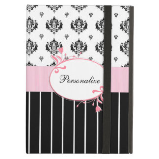 Black And White Damask Chic Pink Floral With Name Case For iPad Air