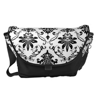 Black and White Damask Courier Bags
