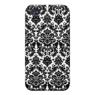 Black and White Damask  Cover For iPhone 4