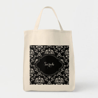 Black and White Damask Custom Tote Bag