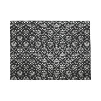Black and White Damask Doormat