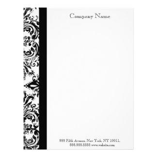 Black and White Damask Elegant  Letterhead
