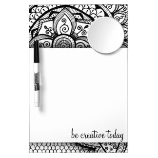 Black and White Damask Elegant Mandala Pattern Dry Erase Board With Mirror