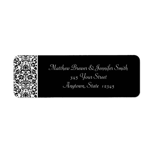 Black and White Damask Envelope Address Labels