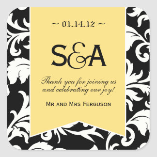 Black and White Damask Favor Stickers