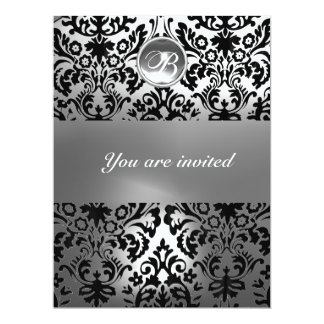 "BLACK AND WHITE DAMASK GEM STONE MONOGRAM 6.5"" X 8.75"" INVITATION CARD"