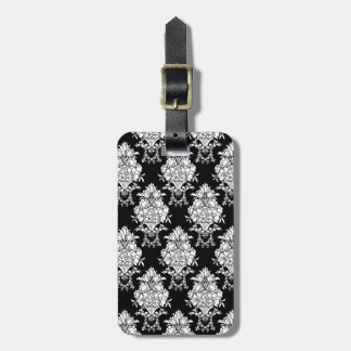 Black And White Damask Goth Travel Luggage Tag