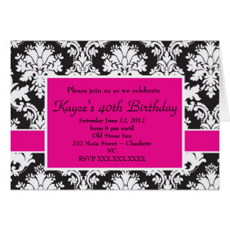 Black and White Damask Hot Pink Invitation Greeting Card