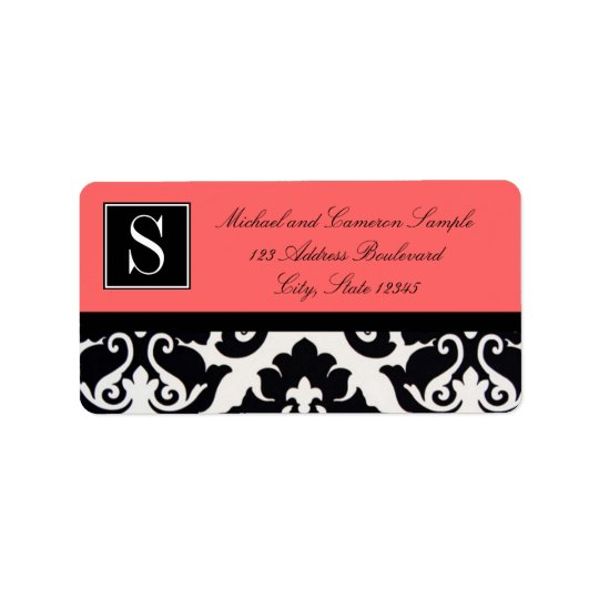 Black and White Damask Label