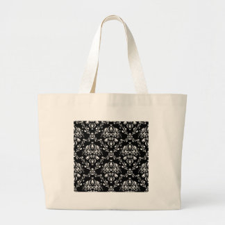 Black and White Damask Large Tote Bag
