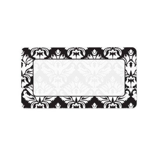 Black And White Damask Mailing Lables