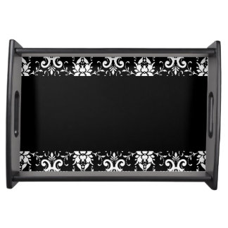 Black and White Damask Matching Kitchen Serving Trays