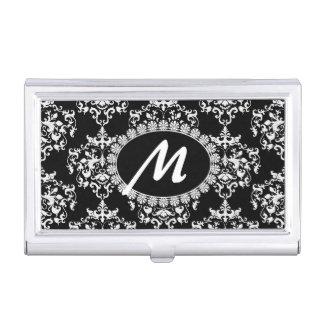 Black and White Damask Monogram Business Card Case