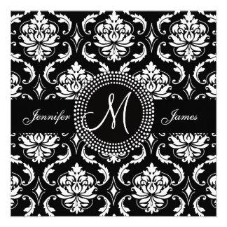 Black and White Damask Monogram Wedding Invitation