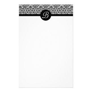 Black and White Damask Monogrammed Stationary Stationery