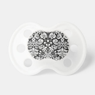Black and white damask pattern baby pacifiers