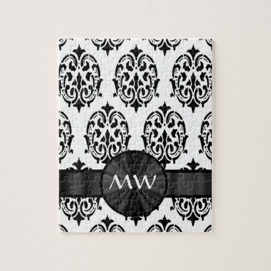 Black and white damask pattern jigsaw puzzle