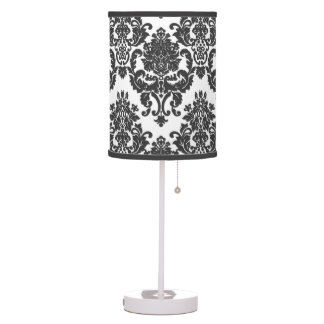 Black and White Damask Pattern Lamp
