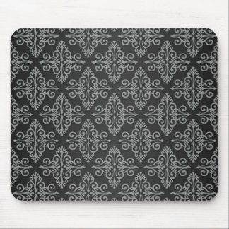 Black and White Damask Pattern Mouse Pad