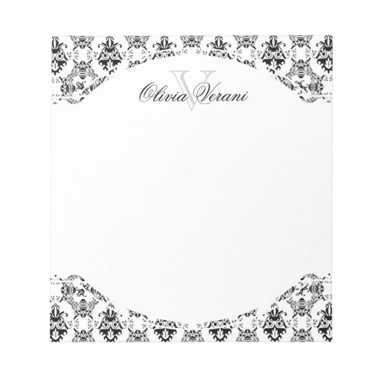 Black and White Damask Pattern Notepad